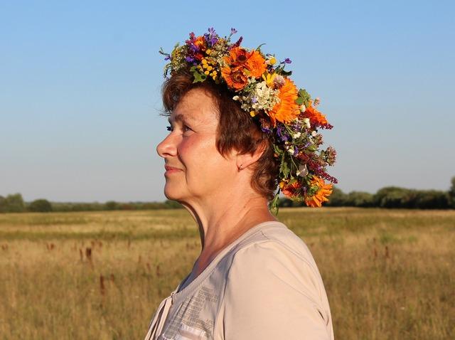 Woman wreath flowers, beauty fashion.