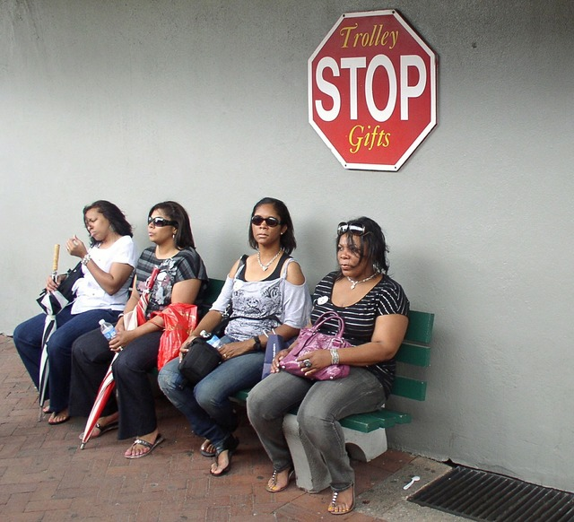 Women wait stop, people.