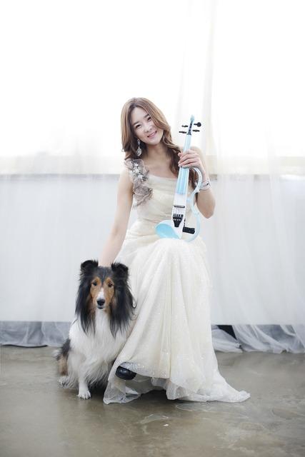 Women's violin dog, animals.