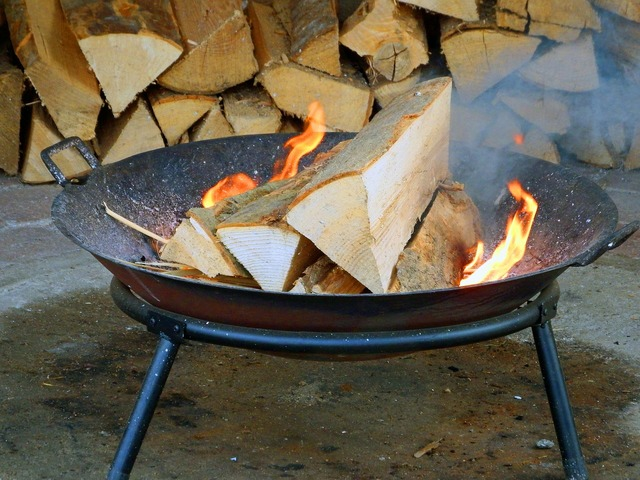 Wood fire fire grill.
