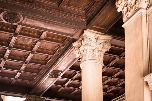 Wooden ceiling wood paneling pillar, architecture buildings.