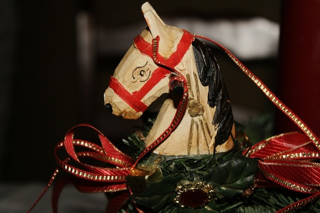 Wooden toys horse advent wreath.