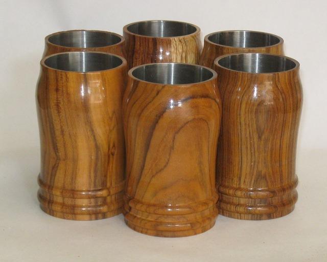 Wooden tumbler glass.