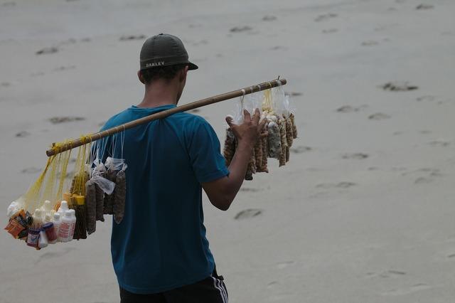 Work beach seller, industry craft.