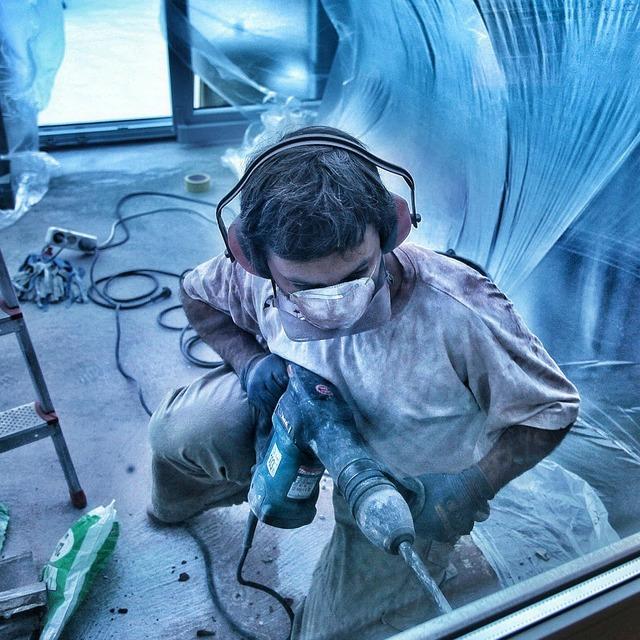 Work demolition hammer drill, industry craft.