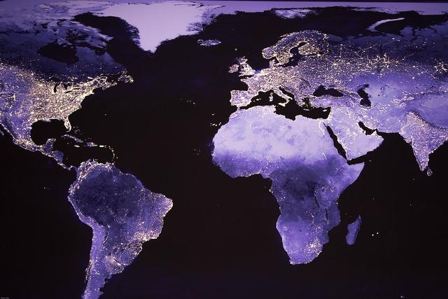 World night photograph satellite image.