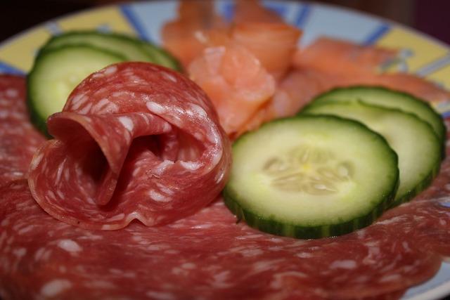 Wurstplatte salami salmon, food drink.
