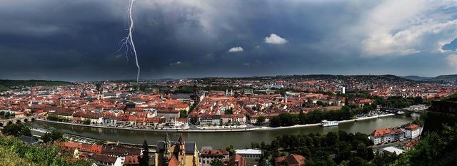 Würzburg panoramic image thunderstorm.