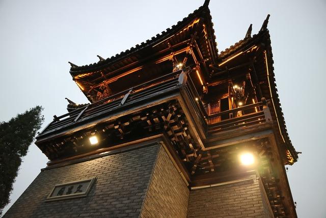 Wuzhen turret at dusk, architecture buildings.