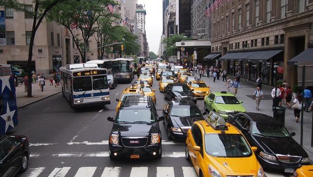 Yellow cab taxi new york, transportation traffic.