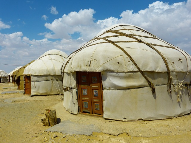 Yurt tent residential structure.