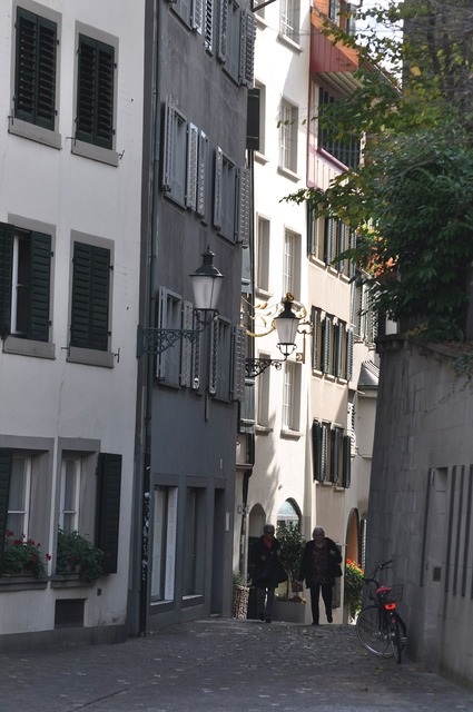 Zurich alley switzerland, transportation traffic.